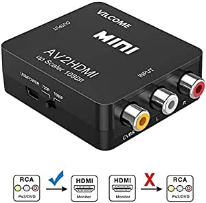 RCA to HDMI, AV to HDMI, Vilcome 1080P Mini RCA Composite CVBS AV to HDMI Video Audio Converter Adapter Supporting PAL/NTSC with USB Charge Cable for PC Laptop Xbox PS4 PS3 TV STB VHS VCR DVD(Black)