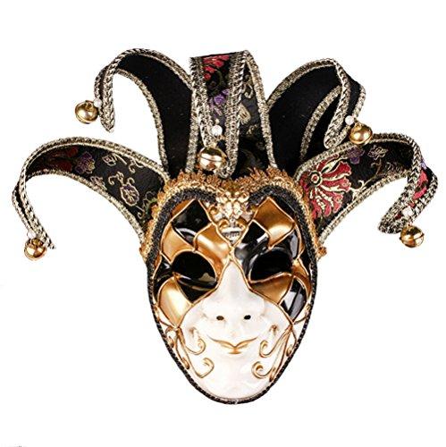 Masquerade Mask Jester Venetian Resin Music Mardi Gras Wall Halloween Decoration Gift (Black)