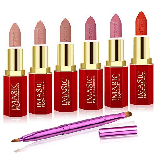 CCbeauty 6Pcs Moisturizing & Matte Makeup Lipsticks Set Hexagon Red Tube Velvet Long lasting with Dual End Retractable Design Brush,Light