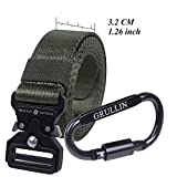 GRULLIN Tactical Rigger Belt,Military Style Nylon Web Waist Belt for Men with Heavy Duty Quick Release Metal Buckle