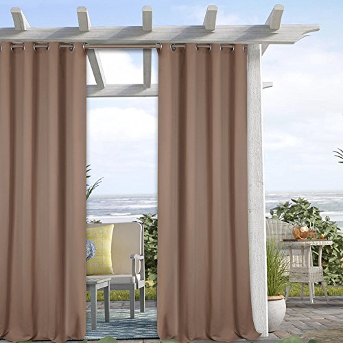 Cheap Indoor Outdoor Curtains Panels Drapes – Outdoor Privacy Curtains Blackout Mildew Resistant Light Blocking Durable Grommet Window Panel Curtains, Mocha, 52 x 95 Inch, Single Piece
