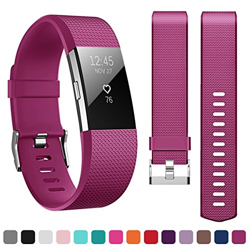 Kutop Bands Compatible for Fitbit Charge 2, Soft Silicone Replacement Watchband Sports Fitness Strap Band Compatible for Fitbit Charge 2 Wristband ()