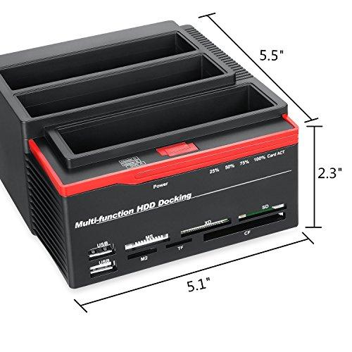 XINGDA Hard Drive Docking Station,USB 3.0 to SATA External HDD Three Bay Bock with 2-Port Hub, Offline Clone Function for 2.5 Inch & 3.5 Inch HDD SSD SATA I/II/II,Card Reader TF/SD/XD/CF/MS/M2 by FUHAOXUAN (Image #6)