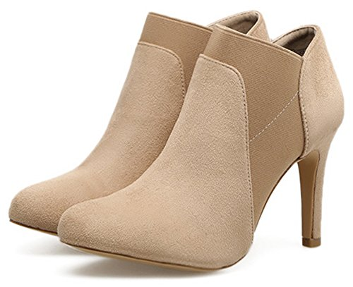 Easemax Women's Casual Faux Suede Pointy Toe High Stiletto Heel Short Ankle High Booties apricot GJ1Bcc746p