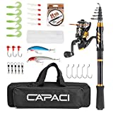 CAPACI Portable Telescopic Fishing Rod and Reel Combos Carbon Fiber Fishing Pole with Full Kits Carrier Bag for Travel Saltwater Freshwater (Rod and Reel Combos with All Accessories, 1.5m / 4.92 ft)