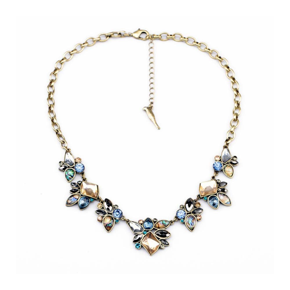 efigo Fashion Statement Necklace Choker Collar Bib Necklace Vintage Boho Costume Jewelry for Women Girls (Blue&Brown)