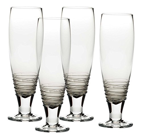 Mikasa Swirl Smoke Pilsner Beer Glass (Set of 4), 27 oz, Gray