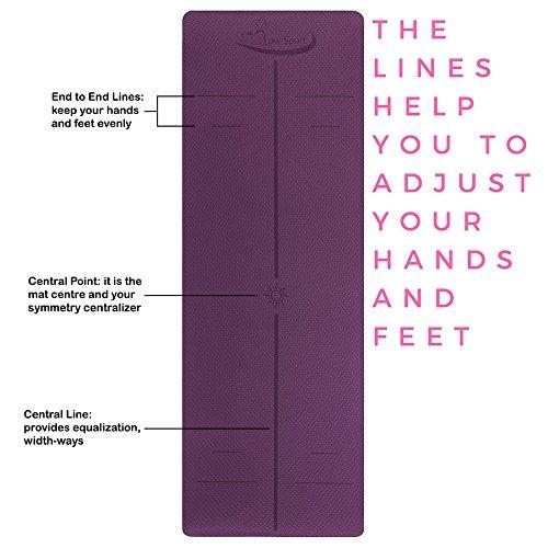 Hot Yoga Mat Set by Low Sport – 100% TPE Yoga Mat, Strap & Carrying Bag + Free Bonus Yoga Hand Towel. Non Slip, Eco-Friendly,Super Elastic,Yoga Mats For Women & Men,Alignment Lines – (Pink) 51DmUnMupXL