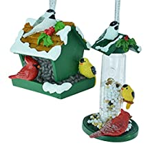 Miniature Bird Feeder and Birdhouse Christmas Holiday Ornaments Set of 2