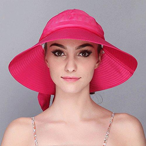 Marina Spiaggia Cappello Estate Di colore Sole Fresco Femminile Rosa Protezione Della Rossa Solare Qiqidedian Grande Pieghevole wOrOTICxq