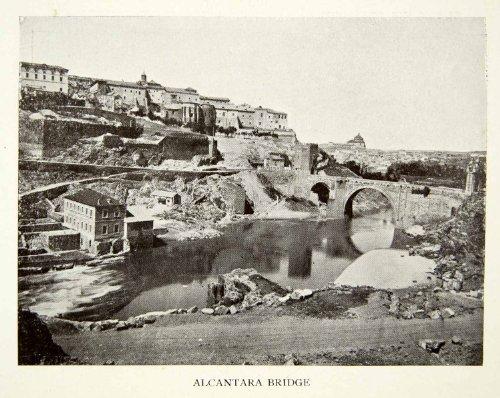 1907-print-toledo-spain-alcantara-bridge-roman-stone-arch-bridge-targus-river-original-halftone-prin