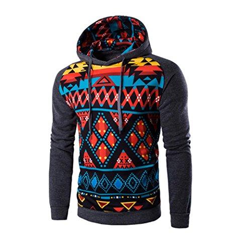 Men Jacket,Leegor Casual Sport Coat Bohemia Retro Hooded Sweatshirt Tops Outwear (XL, Dark Gray)