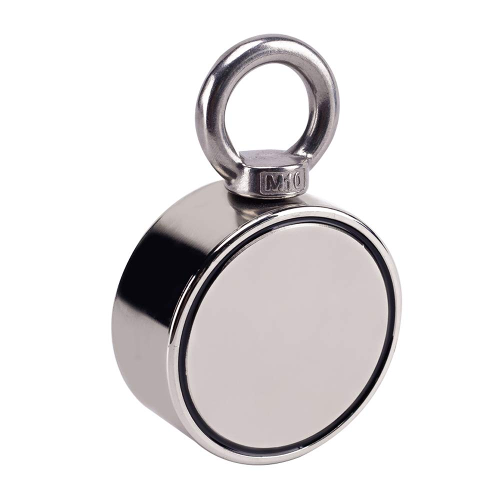 Double Side Round Neodymium Fishing Magnet, Combined 660LBS Pulling Force Super Strong Neodymium Magnet with Eyebolt for Magnet Fishing and Salvage in River - 2.36'' Diameter