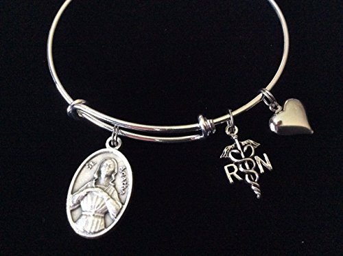 RN with Puffy Heart Patron Saint of the Nurses and Breast Cancer Silver Expandable Charm Bracelet Stacking Bangle Adjustable Catholic Medal Saint - Charm Nurse Italian