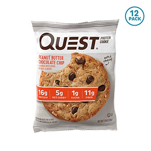 (Quest Nutrition Peanut Butter Chocolate Chip Protein Cookie, High Protein, Low Carb, Gluten Free, Soy Free, 12)