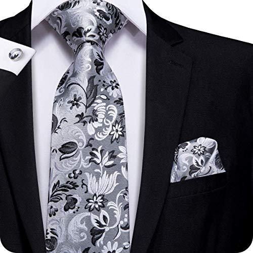 Hi-Tie Men Grey Black Paisley Floral Tie Necktie with Cufflinks and Pocket Square Tie Set