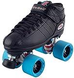 #9: Riedell Black R3 Demon EDM Roller Derby Speed Skates w/ NEW Blue Demon EDM Wheels (95A)