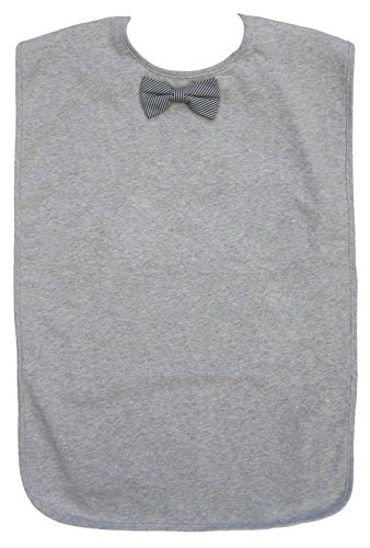 Men's Adult Bib, Heather Grey with Black Striped Bowtie, Frenchie Mini (Couture Bow)