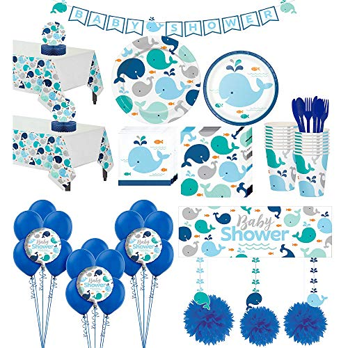 Party City Blue Baby Whale Premium Baby Shower Party Kit for 32 Guests, Includes Balloons and Banners