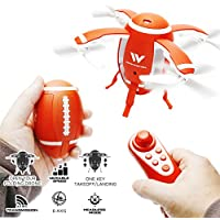 ATTOP W5 Egg Drone Foldable Quadcopter Gesture Remote Control Mini RC Heli 4 Rotors 2.4G 6 Axis Gyro Drone with One Key Take Off Altitude Hold (American Football)