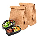 Hangnuo 2 Pack Insulated Brown Paper Lunch Bags Reusable, Retro Lunch Sacks for Adults Work Office & Kids School Picnic, Brown Paper - 10'' x 8'' x 4.3''