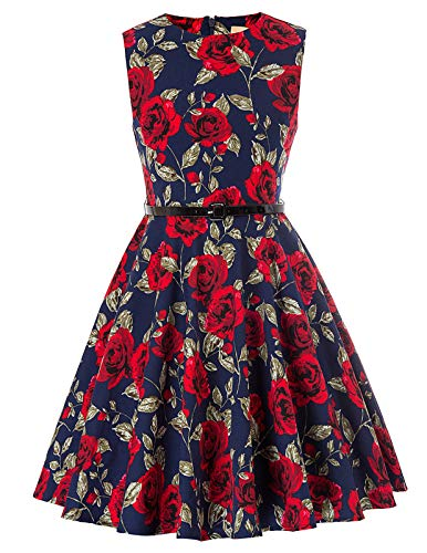 Kate Kasin Girls Sleeveless Vintage Print Swing Party Dresses 6-15 Years (8-9 Years, K250-26)]()