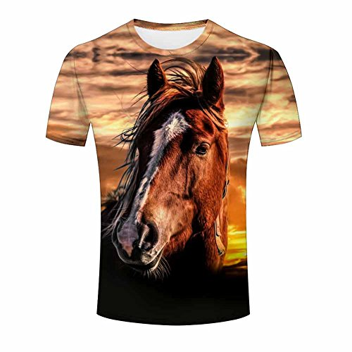 Men 3D Tshirts Sunset Animal Horse Unisex Front Back Polyester Tops Print S