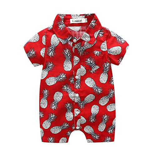 Newborn Baby Boys Short Sleeve Onesies Summer Printing Button-Down Polyester Casual Hawaiian Shirt Romper Outfits (12-18M, red)