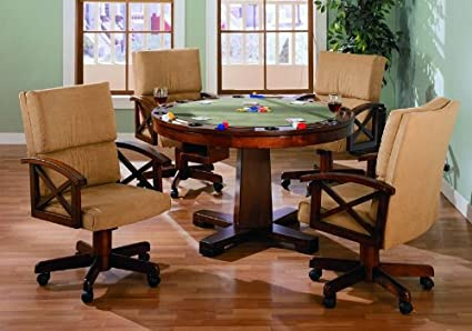 3 In 1 Round Bumper Pool Poker Game Table And Chair Set