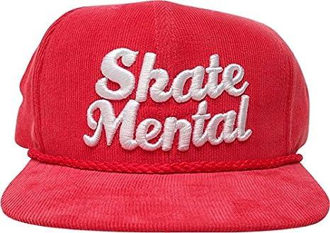 Amazon.com  Skate Mental Script Cord Hat Snapback  Vintage Red White ... 280031188ff