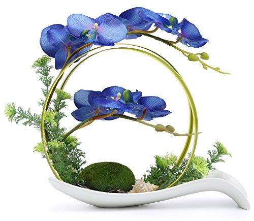 NNEE Artificial Phalaenopsis Orchid Arrangement with Decorative Flower Pot - Blue Orchild A323 (Blue Pot Silk Arrangement)