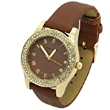 Ladies Gold Tone Coffee Brown Leather Band Fashion Casual Quartz Wrist Watch Watches Mark Naimer