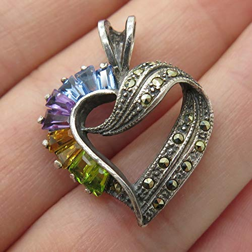 925 Sterling Silver Real Multicolor Gemstone Heart Pendant Jewelry Making Supply by Wholesale Charms ()