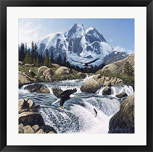 Fishing at Eagle Rocks John Van Straalen Framed Art Print Wall Picture, Black Frame, 29 x 29 inches ()