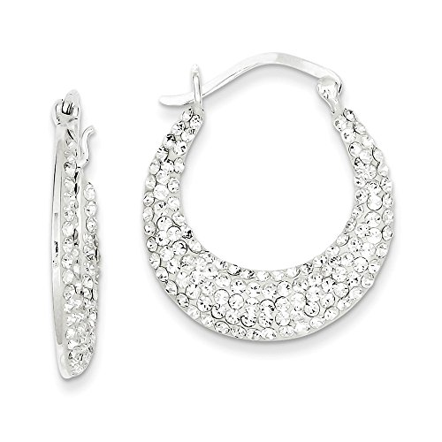 Mia Diamonds 925 Sterling Silver Solid with Stellux Crystal Hoop Earrings (28mm x 3mm)