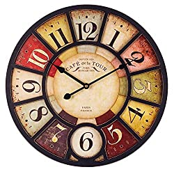 Large Wall Clock, 18 Inch European Vintage Clock with Arabic Numerals, Indoor Silent Battery Operated Wood Clock for Home, Living Room, Bedroom, Kitchen and Den Decor - Paris