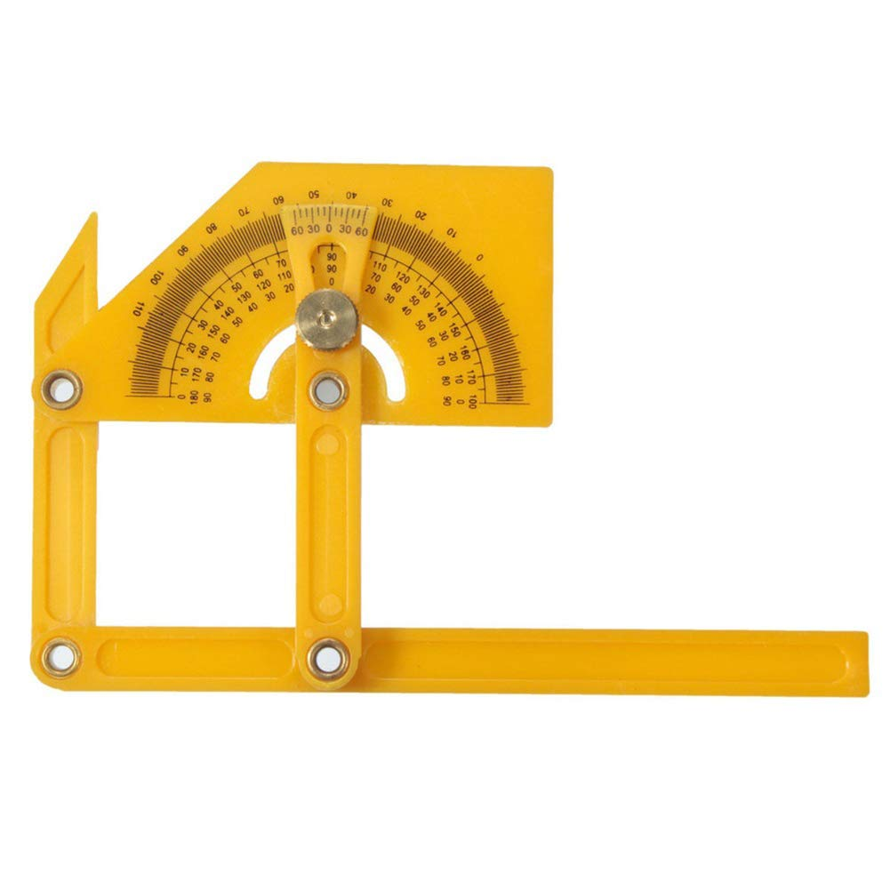 Academyus Foldable 0-180 Degrees Angle Engineer Protractor Finder Measure Arm Ruler Tool Yellow