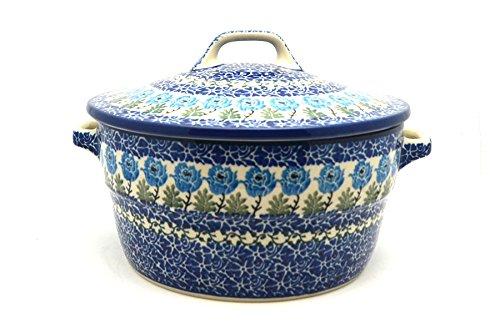 Polish Pottery Baker - Round Covered Casserole - Antique Rose Polish Pottery Round Covered Dish
