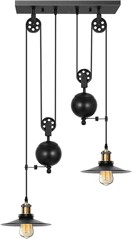 Kingso Pulley Pendant Light 2 Light Kitchen Island Light Adjustable Industrial Rustic Chandelier Farmhouse Vintage Ceiling Lights Fixture For Kitchen
