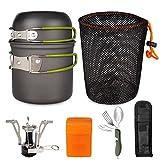 HAMACTIV Camping Pot Pan Bowl Set + Mini Piezo Ignition Gas...