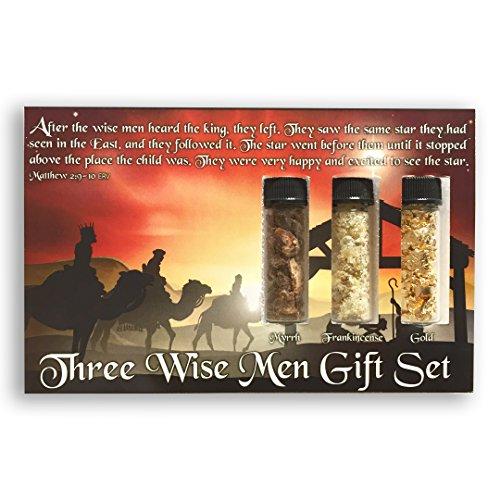 Three Wise Men Biblical Gift Set - Real 24k Gold, Pure Frankincense, Pure Myrrh in Glass Vials, Biblical Christian Nativity Gift