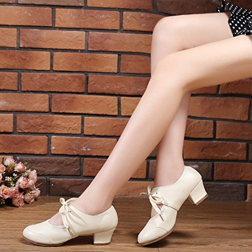 Sneakers Products ABBY Jane Fresh Charming Heel 215 Dance Beige Closed Mary Modern Squre Womens Lace Abby Toe Block Breathable up UUzrdq