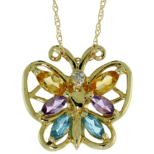 10k Gold 18 in. Thin Chain & 9/16 in. (15mm) tall Butterfly Pendant, w/ Marquise Cut Amethyst, Blue Topaz & Citrine -