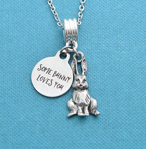 Some bunny loves you charm pendant in silver pewter and stainless steel on a 16