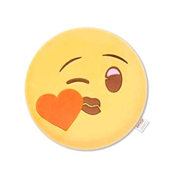 Emoji Smile Corazón Cojín Bordado Beso Oficial, Poliéster ...