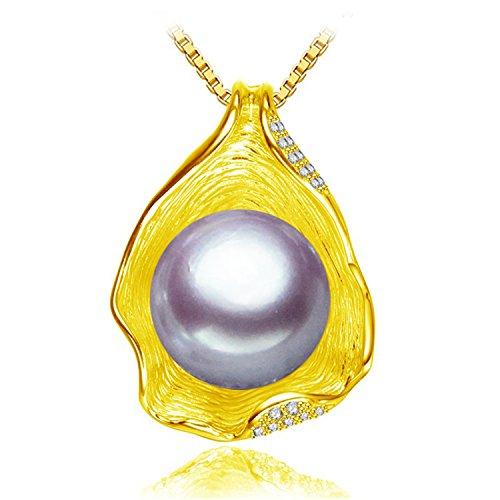 SuperLouisa Fashion Pearl Jewelry,Pearl Necklace,Black Golden Pearl Choker pendant Women Shell Necklace box Multi]()
