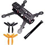 Readytosky 250 FPV Racing Drone Frame Carbon Fiber 250mm Quadcopter Frame with 4mm Arms and Lipo Battery Strap