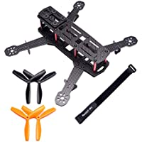 Readytosky 250 FPV Racing Drone Frame Carbon Fiber 250mm Quadcopter Frame Kit with 4mm Arms and Lipo Battery Strap