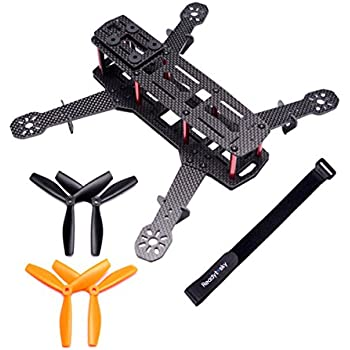 Readytosky 250 Quadcopter Frame Carbon Fiber 250mm FPV Racing Drone Frame with 4mm Arms and Lipo Battery Strap