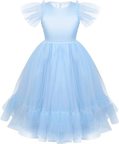 iixpin Vestido Infantil de Princesa Vestido de Malla con Vollantes ...